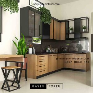 Bikin Kitchen Set Motif Kayu & Black Klien Royal Palm Taman Surya Cengkareng Id4517PT