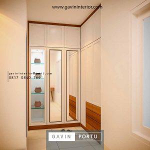 lemari pakaian desain klasik finishing cat duco & kaca cermin