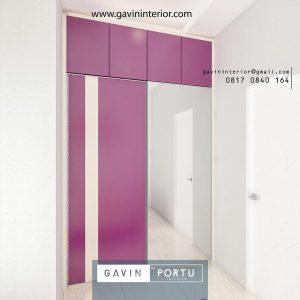 lemari pakaian desain minimalis finishing hpl & kaca cermin
