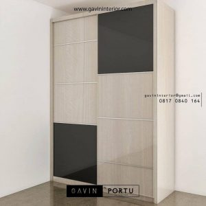 lemari sliding 2 pintu motif kayu ID3747