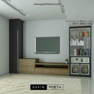 Backdrop Tv Mewah Rangan Keluarga Desain Minimalis