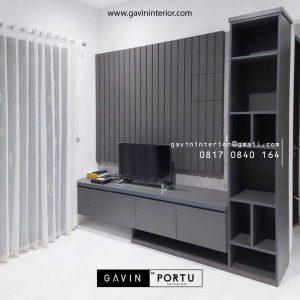 Backdrop TV Mewah Grey Perumahan Dukuh Bima Kota Legenda Tambun Selatan ID4855P