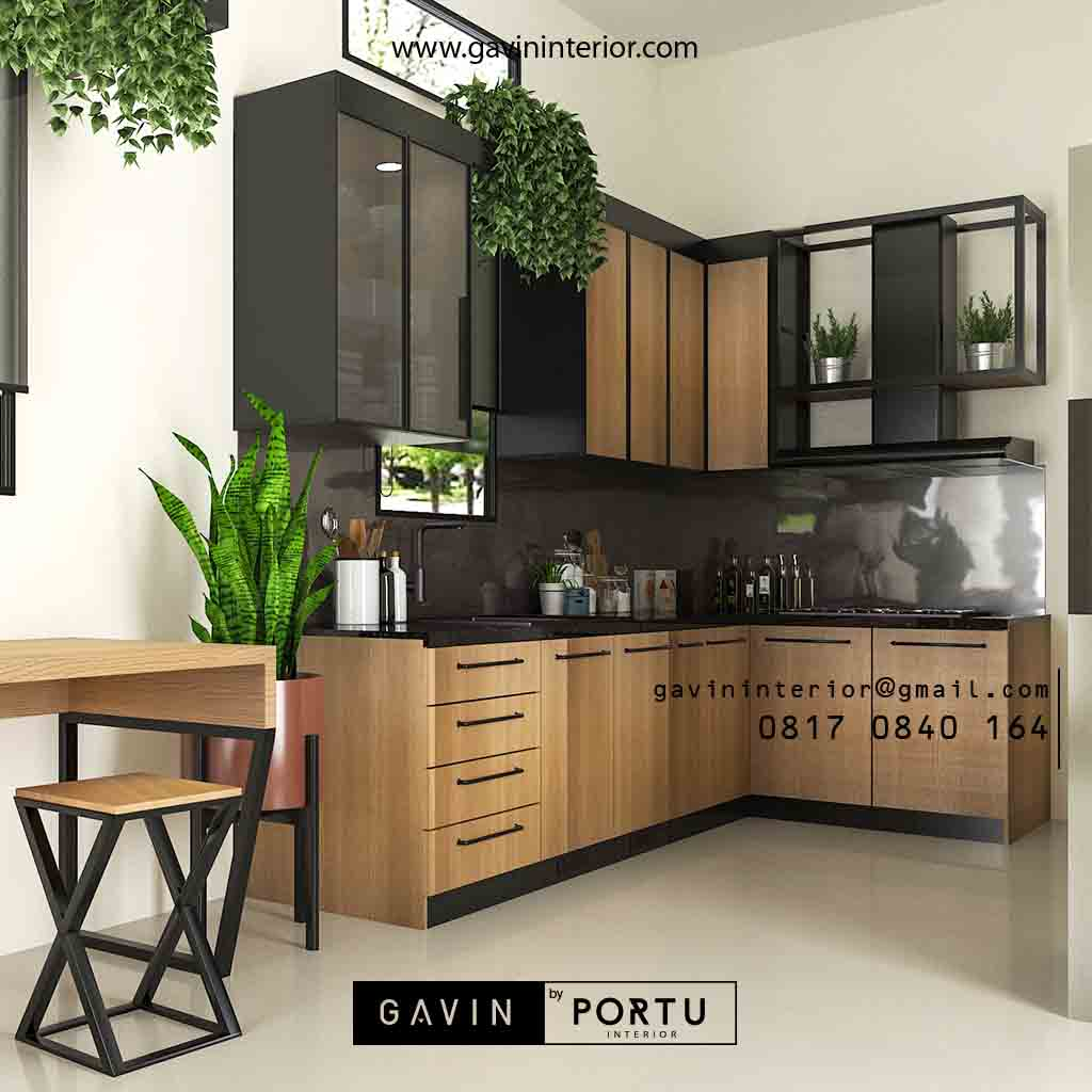 Bikin Kitchen Set Motif Kayu & Black Klien Royal Palm Taman Surya Cengkareng Id4517PT