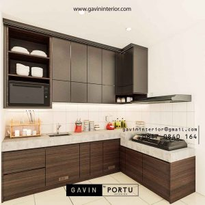 Jasa Kitchen Set HPL Motif Kayu & Grey Suvarna Sutera Sindang Jaya Tangerang ID4732